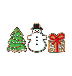 snowman christmas tree gift gingerbread cookies vector image
