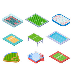 sport fields isometric sports playgrounds vector image