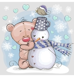 Teddy Bear and Snowman vector