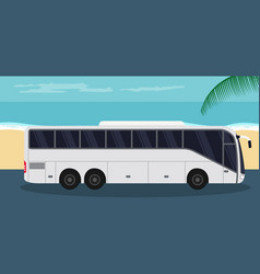 Tourist bus background on beach in summer vector
