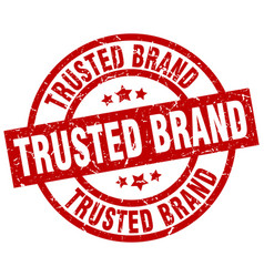 trusted brand round red grunge stamp vector image