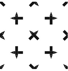 two crossed pencils pattern seamless black vector image