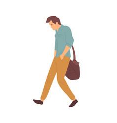 Upset man after quarrel walking in bad mood vector
