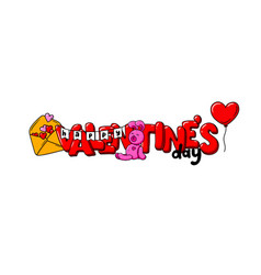 valentine s day card with red lettering heart vector image