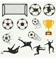 various isolated poses of soccer players in vector image