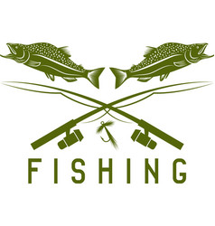 Vintage fishing design template with salmon vector