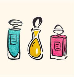 watercolor hand draw perfume bottles vector image