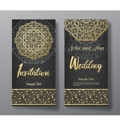 Wedding invitation card with arabic mandala vector image