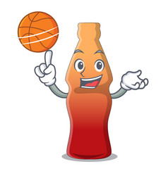 With basketball cola bottle jelly candy character vector
