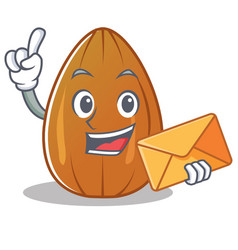 with envelope almond nut character cartoon vector image