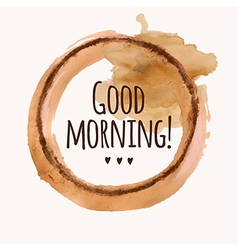 with Good morning phrase and pour coffee b vector image