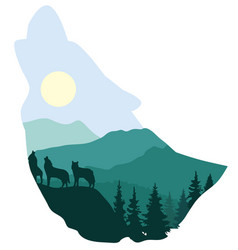 Wolf forest silhouette vector