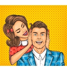 Woman close ears to the her man vector image