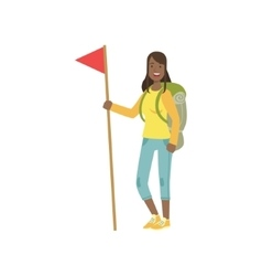 Woman With The Flag And Backpack vector