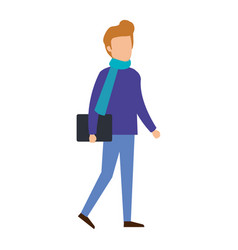 Young man with scarf and folder character vector