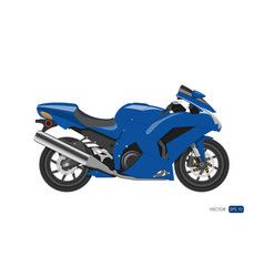 blue motorcycle in realistic style side view vector image