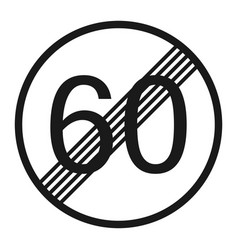 end maximum speed limit 60 sign line icon vector image