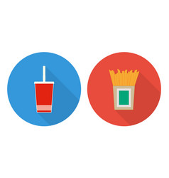 flat cup of cola and french fries vector image vector image