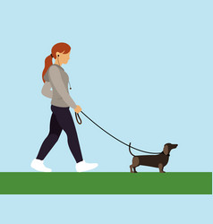 girl with dog walking vector image vector image