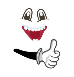 happy smiley face with thumb up gesture vector image