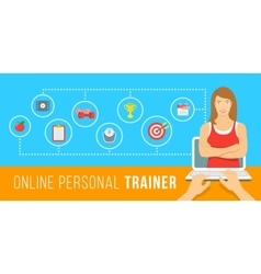 Online personal fitness instructor conceptual vector image vector image