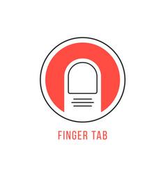 red and black finger tab emblem vector image