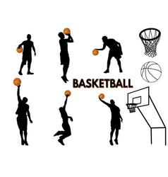 basketball players silhouette vector image