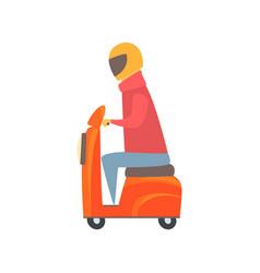 man riding orange motorbike cartoon vector image