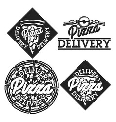 vintage pizza delivery emblems vector image