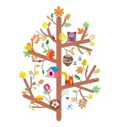 Autumn tree kids design flat vector image