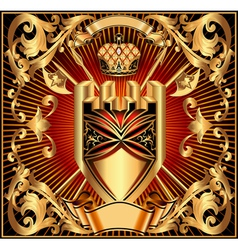 background with a gold shield vector image vector image