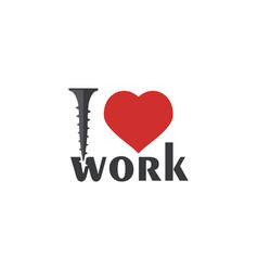 i love work font type with red heart sign and vector image vector image