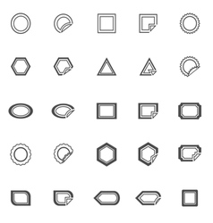 Label line icons on white background vector image