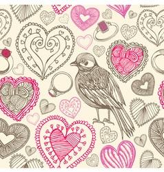 Retro Birds Hearts Doodles Pattern vector image