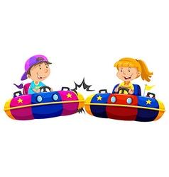 Boy and girl playing bump cars vector image vector image