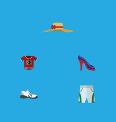 Flat icon clothes set of sneakers heeled shoe vector