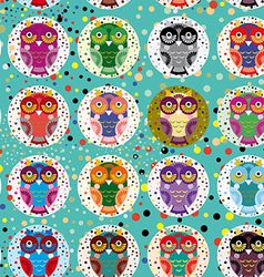 Seamless pattern with funny colored owls on a vector image vector image
