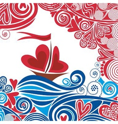 Ship of love vector image vector image