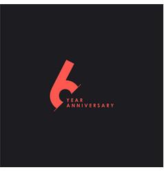 6 years anniversary template design vector