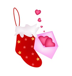 A Lovely Red Christmas Stocking with Love Letter vector image