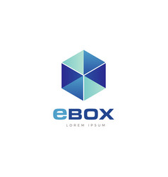 abstract transparent blue cube box logo symbol vector image