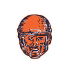 American Football Player Head Etching vector