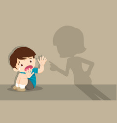 Angry mother scolds frightened child sitting on vector