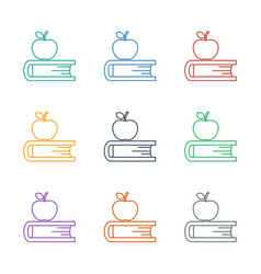 Apple on book icon white background vector