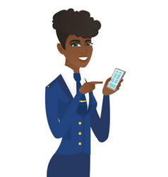 Arican-american stewardess holding a mobile phone vector