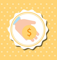 Badge dots background hand holding coin money vector