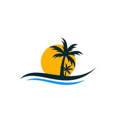 Beach traveling creative abstract business logo vector