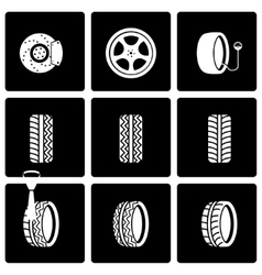 black tire icon set vector image