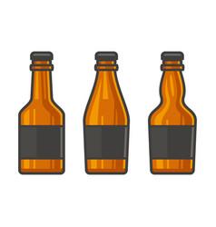 Blank glass beer bottle set on white background vector