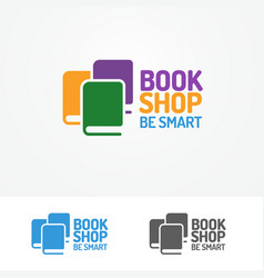 book shop logo set consisting books vector image